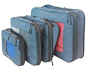 travelbug Compression Packing Cubes Set of 4 (Small, Medium, Large, and Extra Large)   Compresses to fit More in Less Space   Luggage Organizer for Travel (Dark Blue)