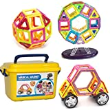 A Mustard Seed Toys Magnetic Tiles - 88 Large Pieces, Full Size, Kids Learn Colors, Shapes, and Patterns, Great Starter Set, Includes Wheels for Building Cars and a Ferris Wheel With Lights and Music