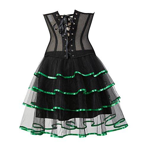 Grebrafan Damen Breathable Corset Party Kleid Corsage mit Tüllrock Grün X3yao