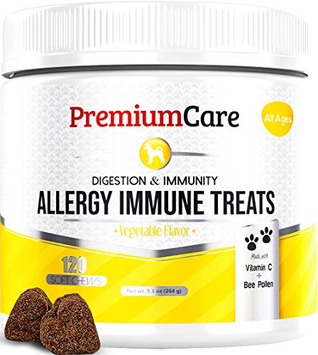 Allergy Relief Immune Supplement For Dogs - Treats Seasonal & Food Allergies, Skin Itch, Hot Spots And More - Promotes Skin & Coat, Improves Digestion, & Enhances Gut Health - 120 Chew Treats (Best Probiotics For Dog Skin Allergies)