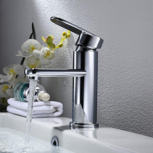 Makej The Chrome Finish Bathroom Basin Faucet Brass Mixer Tap Silver. Deck Mounted Brass Vanity Sink Mixer Tap Hot & Cold Faucet
