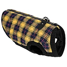 Gooby 75002C-YEL-S Fashion Check Quilted Bomber Dog Vest with Stretchable Chest, Yellow Check, Small