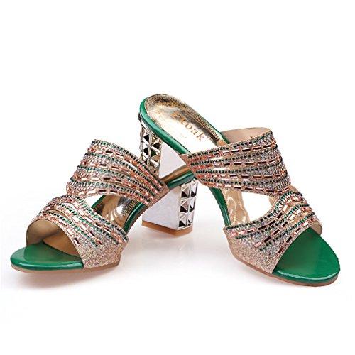 Talons Femmes Strass D'été Parti Chaussures Dames Sexy Lumino Sandales Femme Green Femmes Outs Haut Cut Mode Chaussures Robe 705Rnp8q