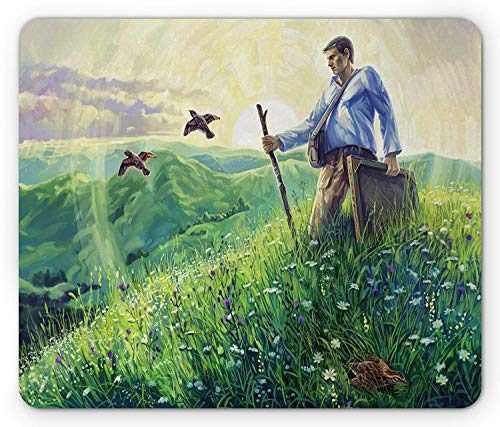 Bestsock Gaming Mouse Mat/Pad, Quail Mouse Pad, Artist Painter in Country Landscape Grass Rural Summer Flowers Flying Quails Design, Standard Size Rectangle Non-Slip Rubber Mousepad, Multicolor