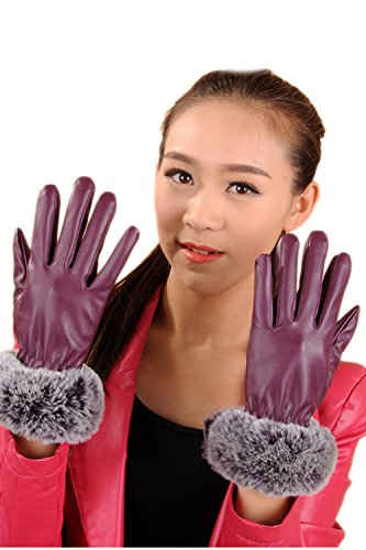 ほかに給料大惨事女子のどウサギ毛皮タッチ画面 PU 革ミトン手袋
