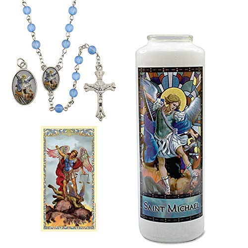 - Catholic Stained Glass Candle Saint Michael The Archangel Adoration Gift Set- Includes: 6-Day Candle with Stained Glass Image of St Michael, Light Blue Rosary with Medal and Prayer Card
