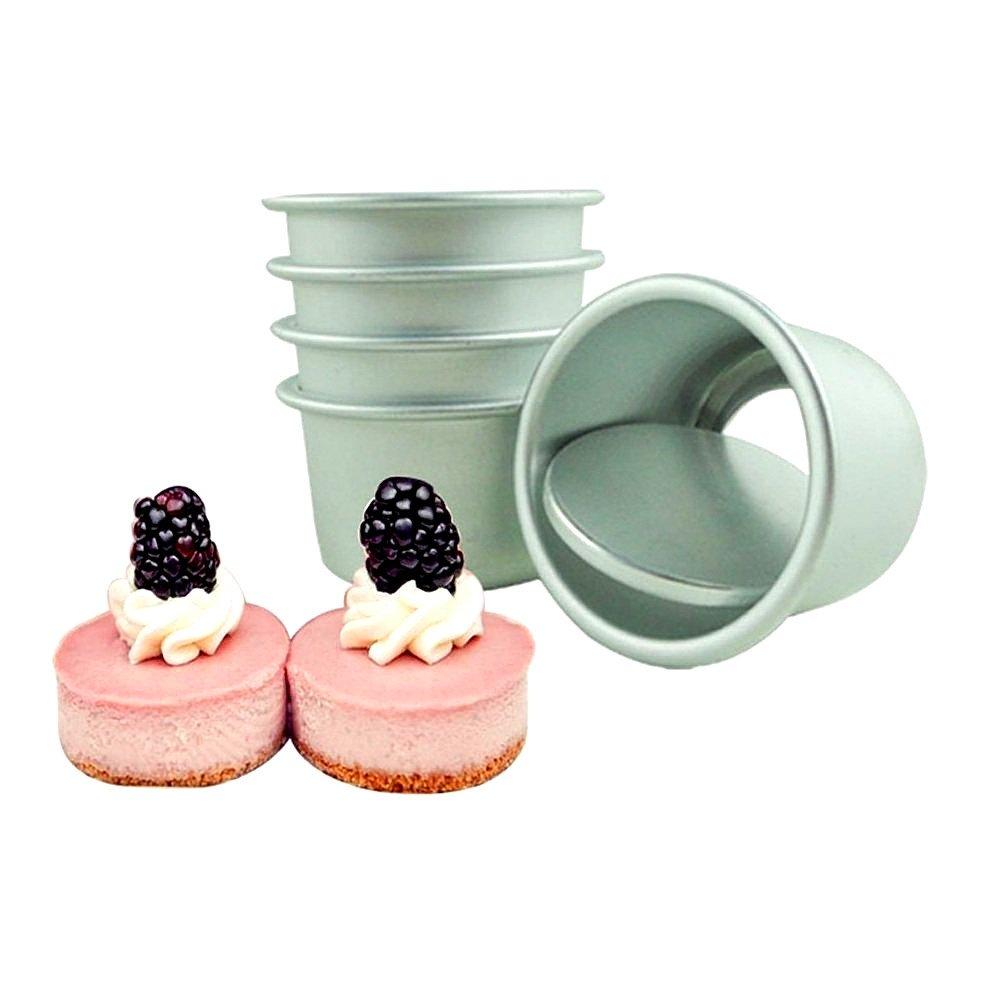 Mity Rain Aluminum Round Performance Pan, 5 Pack Mini Chiffon Cake Baking Pan,Cheesecake Pan,Non Stick Cake Mould,Removable Bottom