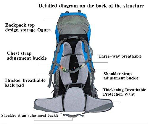 70L de gran capacidad de bolsa de viaje de la moda hombres y mujeres Mochila doble mochila del hombro a prueba de agua , gold Blue