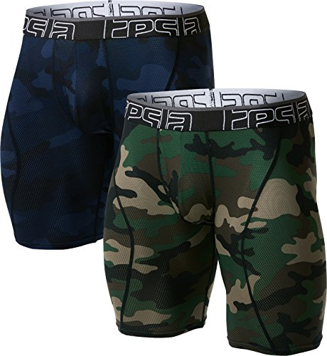 TSLA Men's Relaxed Stretch 9 inches Open-Fly Cool Dry Brief Mesh Underwear Trunk (Pack of 2), Fly-Front 9inch 2pack(mbu03) - Camo Olive/Blue, X-Small