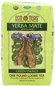 Eco Teas Organic Yerba Mate Unsmoked, Loose, 16-Ounces (Pack of 3)