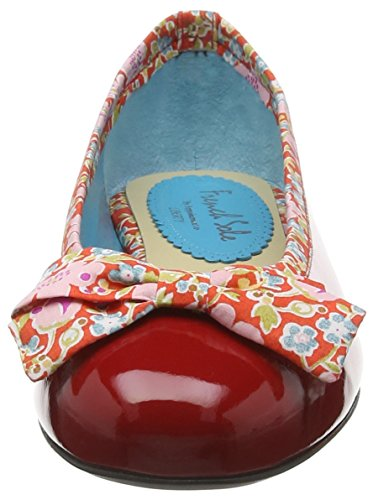 French Sole Henrietta Large Bow Patent Leather John D Liberty Print, Bailarinas Para Mujer Rojo (Red)