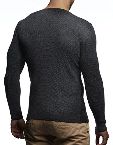 Longue Pull Sweater Comouflage Pour Hoodie Tricot Anthrazit En Basic Sweatshirt Pullover Col Leif Hommes Neck Des Feinstrick Ln1645 Crew Rond Nelson Longsleeve Manche qHw5x5UTX