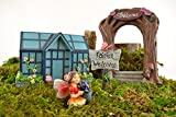 Clever Home Fairy Garden Sets in Resin with Fine Detailing (Arch and Greenhouse with Fairy and Sign) For Sale
