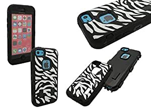 iPhone 5c Shockproof Case, Nue Design Cases TM High Impact Rugged Black/White ZEBRA PRINT Case For iPhone 5c