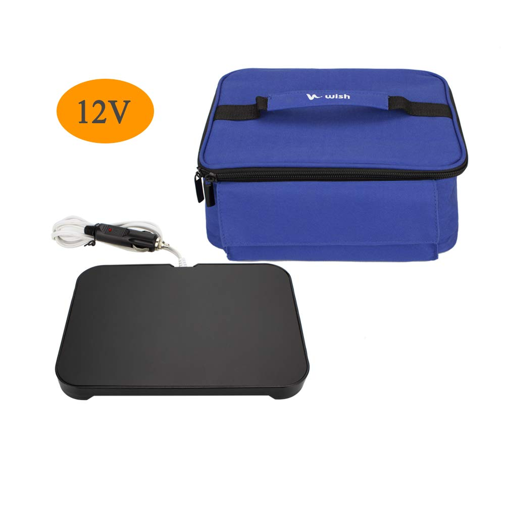 WISH Mini Portable Oven 12V Personal Food Warmer with Lunch Bag for Prepared Meals Reheat, Perfect for Car Work Camping - Blue