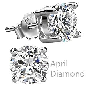 Feramox Sterling Silver Round Cubic Zirconia Diamond Birthstone Stud Earrings for Women