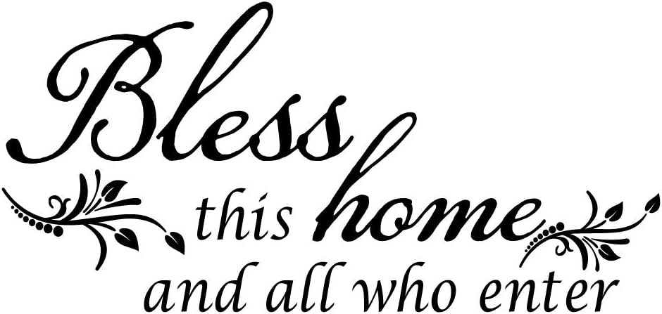 ZSSZ Vinyl Wall Decal Quotes Bless This Home and All who Enter Home Décor Art Letterring Words