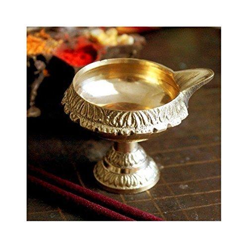 Diwali Puja Diya Oil Lamp Brass Handcrafted , Hindu Religious Gift Antique , Akhand Jyoti Diya , Kuber Diya with Stand Cultural Hub (2 Inches X 2, Stand)