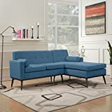 Sophia Mid Century Modern 2 Piece Muted Blue Fabric Sectional Sofa and Lounge Set