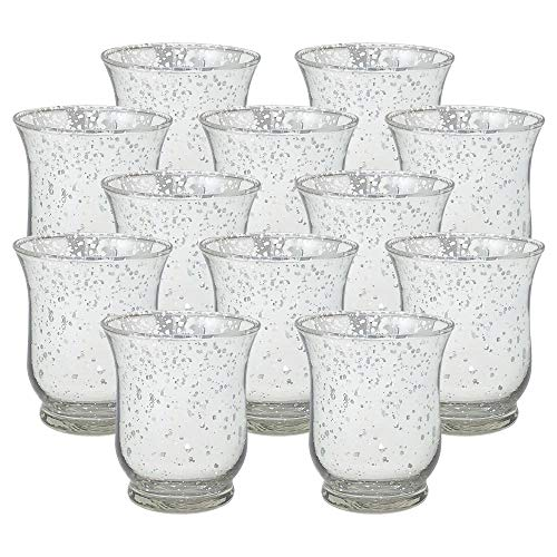 Just Artifacts Mercury Glass Hurricane Votive Candle Holder 3.5-Inch (12pcs, Speckled Silver) - Mercury Glass Votive Tealight Candle Holders for Weddings, Parties and Home Decor (Glass Tea Light Holders Mercury)