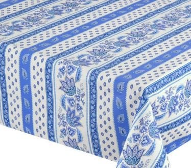 Le Cluny, Lisa White & Blue French Provence 100 Percent COATED Cotton Tablecloth, 60 Inches x 120 Inches