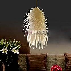 Modern IRACUS DIY PVC Dining Room Ceiling Pendant Lamps Bedroom Study Room Acrylic Feather Wing Pendant Light Balcony Hallway Plastic Chandelier Fixture (B-Yellow)