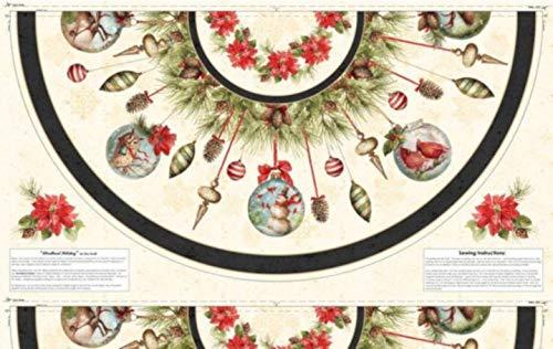 (Woodland Holiday Christmas Tree Skirt Fabric Panel)