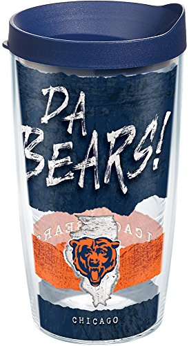 (Tervis 1251825 NFL Chicago Bears NFL Statement Tumbler with Wrap and Navy Lid 16oz, Clear)
