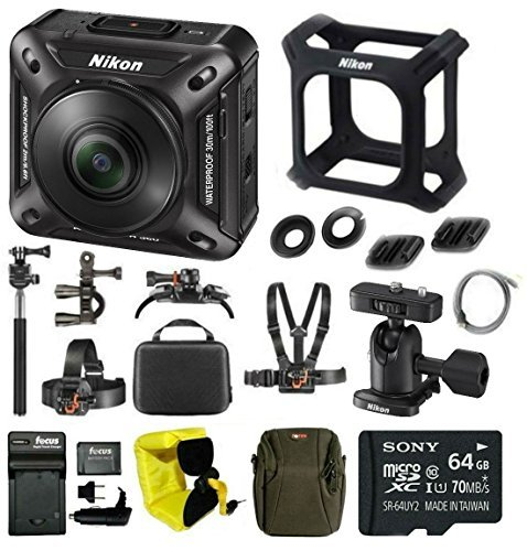 Nikon Keymission 360 Wi-Fi 4K Video Action Camera + 64GB Card + Battery and Charger + Case + Action Mount Kit