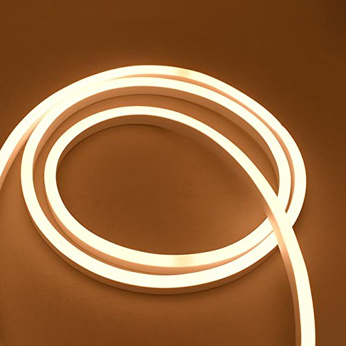 LEDwholesalers 24V 65-ft IP65 Water-Resistant Flexible LED Neon Strip Light with 2400xSMD2835, Warm White 3000K, 20270WW
