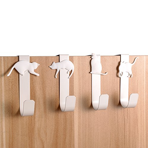 Pack of 4 Decorative Cat Over the Door Hook Hanger Draw Organizer for Hats, Coats, Towel, Purses, Grocery Bags by Popoye