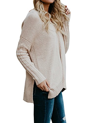 Imily Bela Womens Batwing Long Sleeve Sweater Ribbed Knitted Pullovers Pointelle Tops