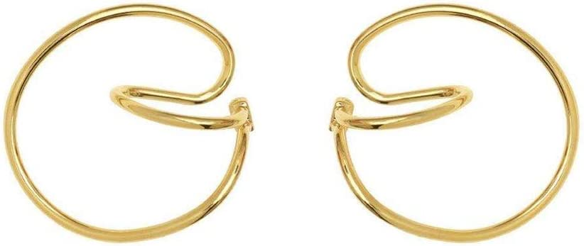2 Pares Hooping Ear Cuff, Comfortably Hooping Ear Cuff Classical No Piercing Needed, Geometry Earrings For Women,With Gift Box (Golden)