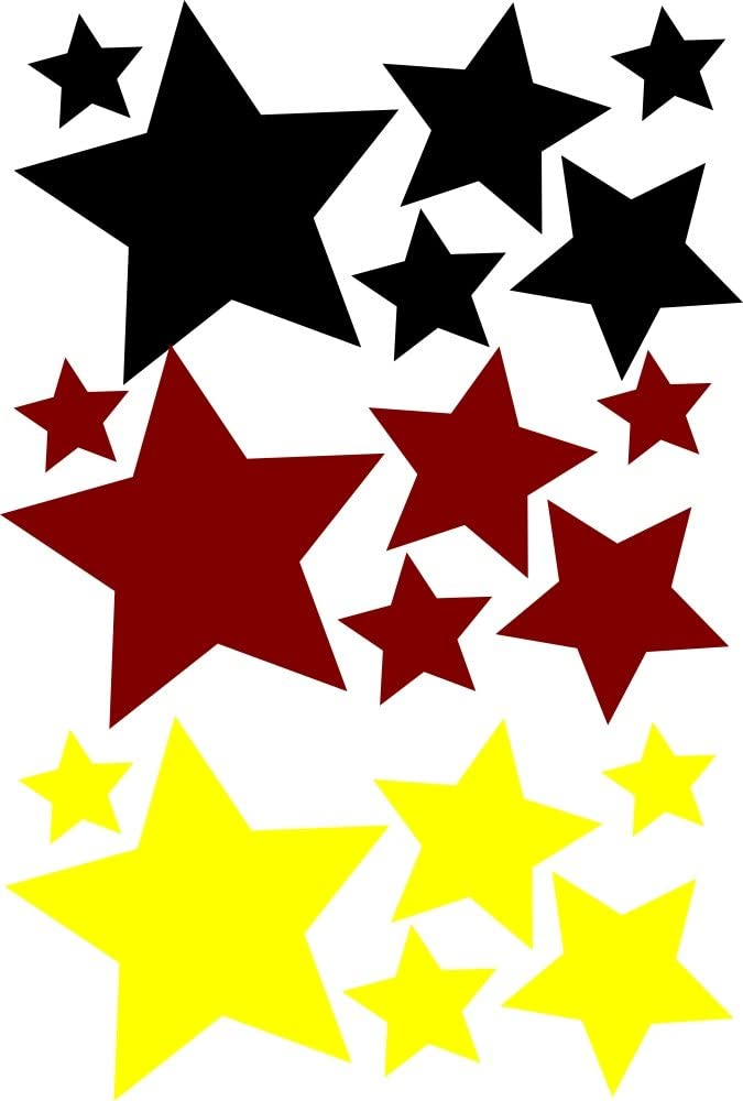 18 Stück Selbstklebende Sterne Autoaufkleber Fbw008 Wandtattoo Fussball Wm Em Aufkleber Fürs Auto Fanartikel Fahne Deutschland Fußball Küche Haushalt