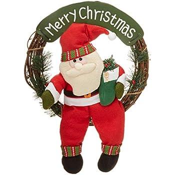 D-FantiX Santa Christmas Wreath, 14 Inch Merry Christmas Front Door Wreaths Small Christmas Decorations Home Decor