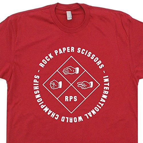 L - Rocks Paper Scissors T Shirt Tournament Tee Hacky Sack Vintage Deadhead Hippie 80s 90s Thumb War Champion Red ()