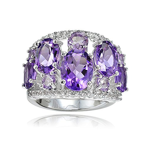 Sterling Silver Genuine African Amethyst, Amethyst and White Topaz Tonal Dome Ring (White Dome Topaz Ring)