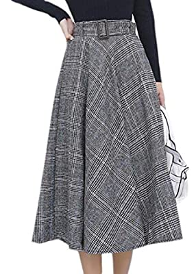 Generic Womens Vintage Swing Flared Glen Plaid Wool Blend Midi Skirts