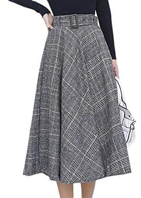 Generic Womens Vintage Swing Flared Glen Plaid Wool Blend Midi Skirts