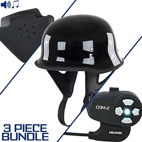 Outlaw T-75 German Style Glossy Black Half Helmet with Hawk COM-2 Bluetooth Int - Small w/COM-2 Intercom