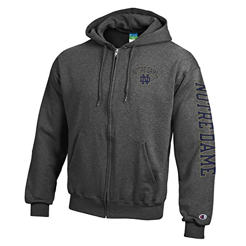 Irish Full Zip Hoodie Sweatshirt Letterman Charcoal - L (Notre Dame Hoodies)