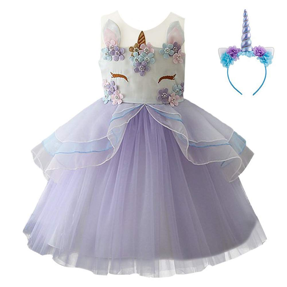 ef1b4c573a5d Kids Girls Flower Tulle Birthday Unicorn Mythical Costume Cosplay Pageant  Tutu Princess Dress up Teen Cute Unicorn Headband Halloween Party Gown  Outfits ...