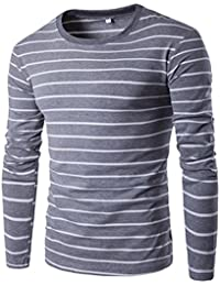 Men Long Sleeve T-Shirt Cotton Stripe Round Neck Tops