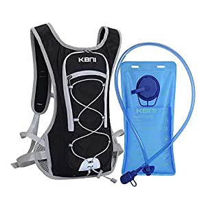 KBNI Hydration Pack with 2L Water Bladder for Women Men Kids - This Backpack Keeps You Cool and Great for Outdoor Sports of Running Hiking Camping Climbing Cycling Skiing (Black)