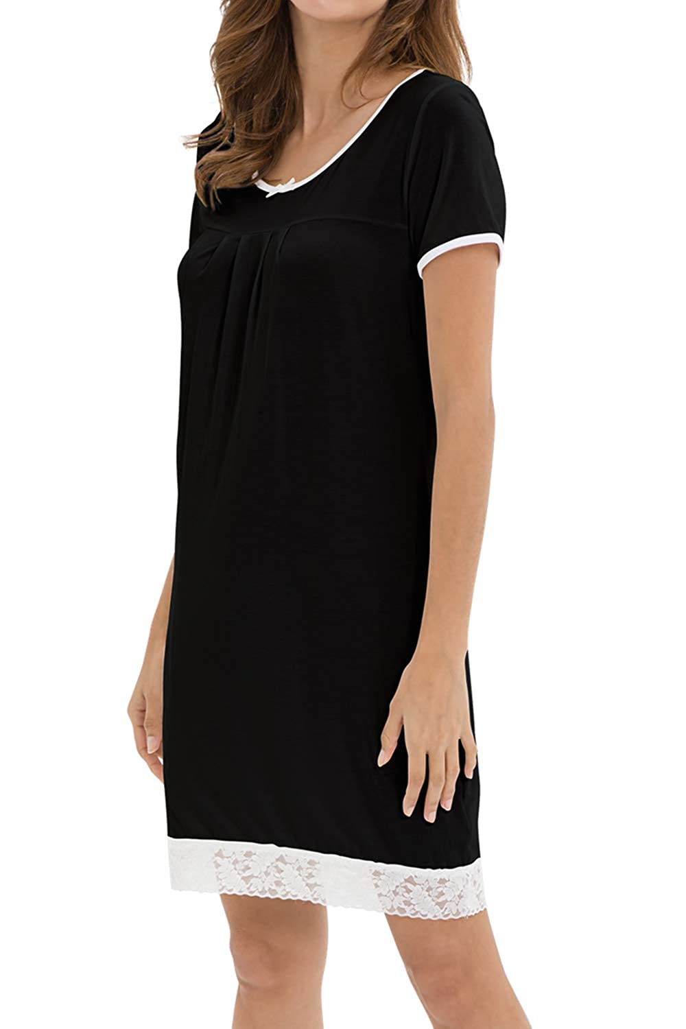 Black WiWi Bamboo Lace Nightgowns Short Sleeve Nightshirts for Women