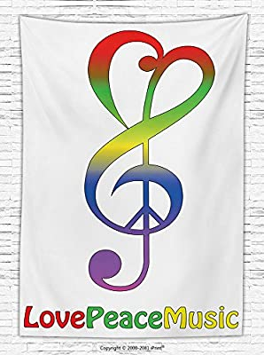 1960s Decorations Fleece Throw Blanket Love Peace and Music Clef Musical Notes Bass Old Sign Slogan Live Feeling Celebration Throw Blanket