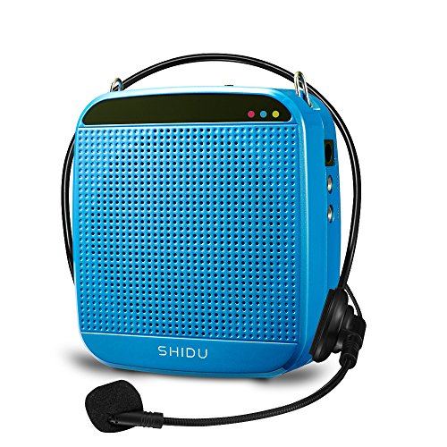 Zoweetek 15W Rechargeable Portable Voice Amplifier with Wired Microphone Headset and Waistband, Supports MP3 Format Audio Playing for Teachers, Tour Guide, Coaches, Training, Presentation (M512-Blue)