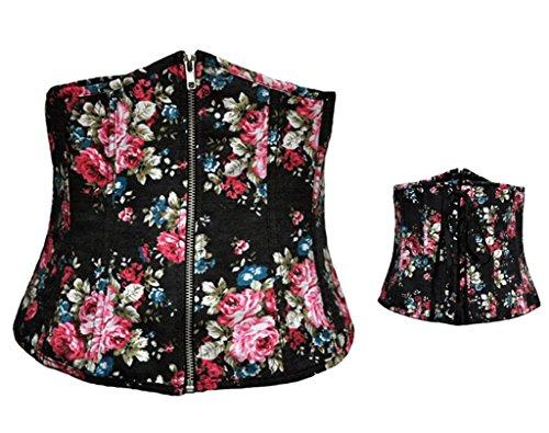 Alivila. Y Fashion corsé de las mujeres Vintage Floral Denim corsé Bustier Negro