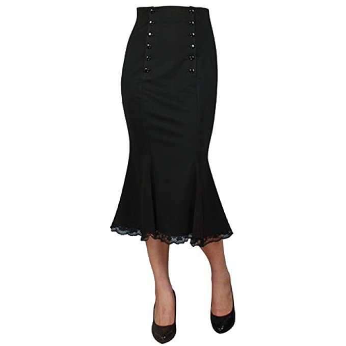 453fa9423 Chic Star Godet Black Fitted Skirt with Lace Trim Standard to Plus ...
