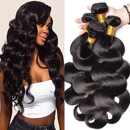 GEM Beauty Body Wave Bundles Brazilian Virgin Hair 4pcs lot 100% Unprocessed Human Hair Extensions Brazilian Body Wave Hair (16 18 20 22 ()
